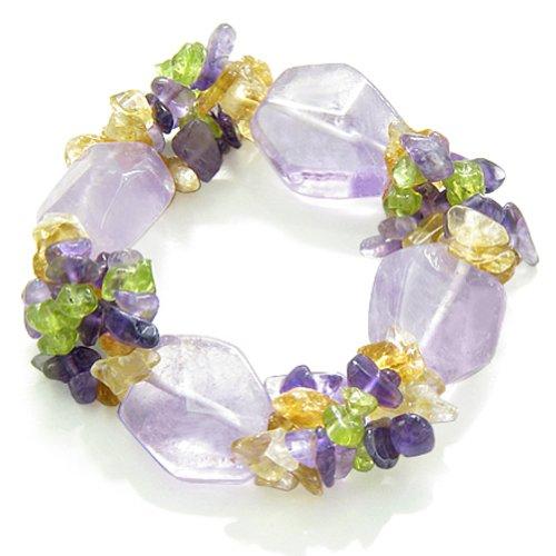 Amulet Purple Quartz with Gemstone Chips Bracelet