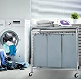 HollyHOME Laundry Sorter Cart with Foldable Ironing