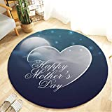 Mother's Day Series - Printed Round Flannel Kitchen Anti-Slip Mats Children's Room Carpet Beautifully Decorated Rug,Thanks for Mother