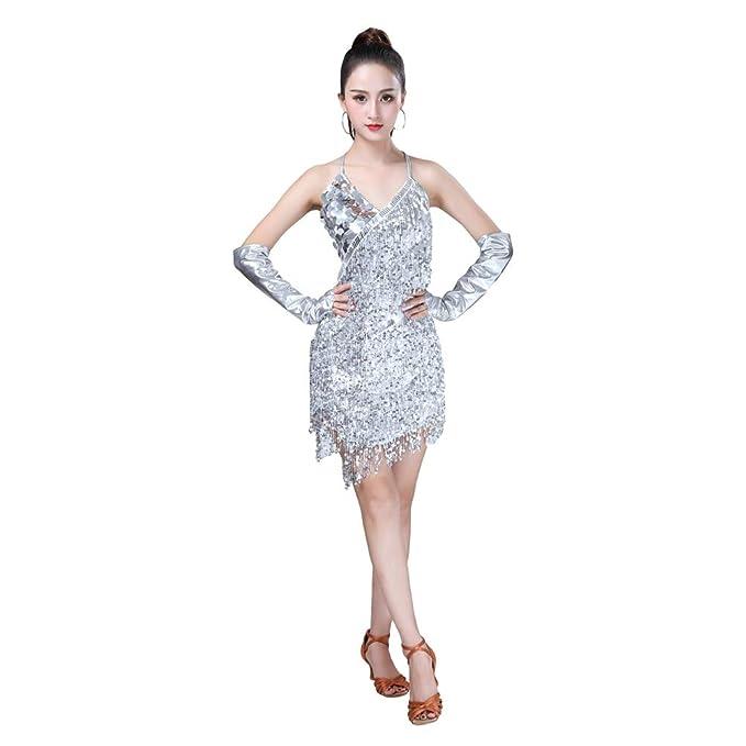 Vestito Latino Da Frangia Ballo Donna Salsa Backless Jeelinbore wPXOnk80