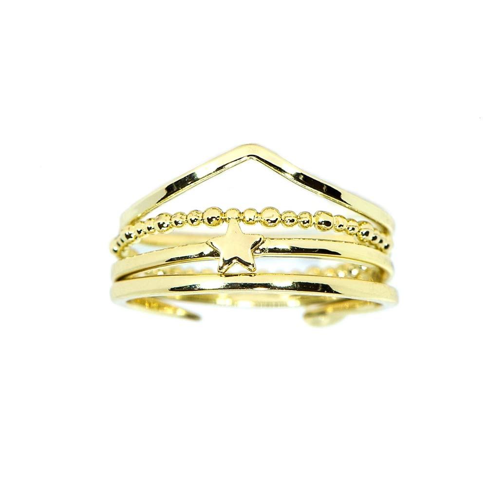 Pura Vida Gold Retreat Stack Ring Size 7 - Gold Plated .925 Sterling Silver Ring