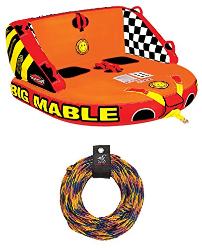 SPORTSSTUFF 53-2213 Big Mabel Double Rider Towable Inflatable Tube w/ Tow Rope ()
