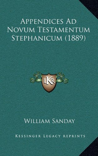 Download Appendices Ad Novum Testamentum Stephanicum (1889) (Latin Edition) ebook