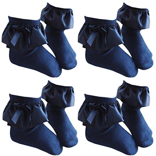 Sept.Filles Socks Girl's Anklet Socks Silk Lace Top Dress Socks Packs of 4 (L(5-7y), Navy Blue) ()