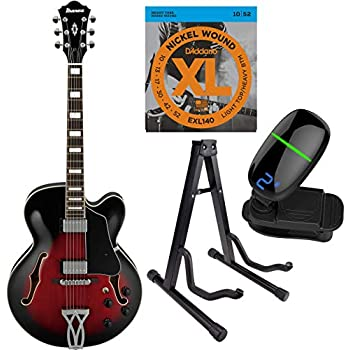 ibanez artcore series hollow body electric guitar with strings tuner stand af75. Black Bedroom Furniture Sets. Home Design Ideas