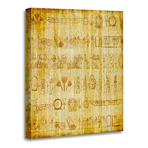 Emvency Painting Canvas Print Wooden Frame Artwork Brown Egypt Ancient Egyptian Parchment Yellow Papyrus Writing Border Pharaoh Decorative 12x16 Inches Wall Art for Home Decor -