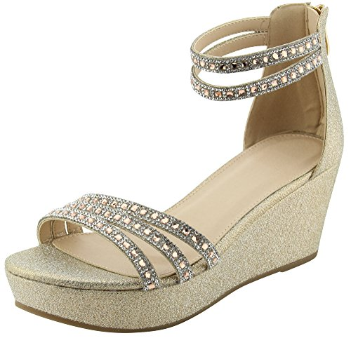 Cambridge Select Womens Ankle Strappy Crystal Rhinestone Platform Wedge Sandal Champagne ck8cb1rkt0