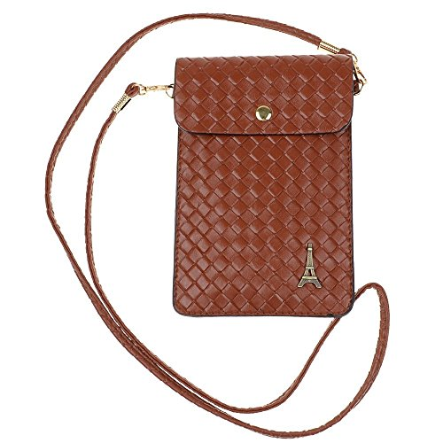 Dealzip Inc® Brown Eiffel Tower Pattern Woven Pouch PU Leather Crossbody Purse Case Cover with Shoulder Strap for Apple Iphone 4 4s Iphone 6 5 5s 5c Samsung Galaxy S4 S3 Galaxy Note 2,Note 3+Random gift (Baseball Samsung Galaxy S3 Case)