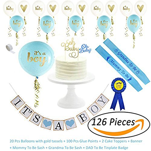 AiXiAng IT IS A BOY Perfect Baby Shower Decorations Set for Baby Boy Baby Shower Party - Baby Shower Deco