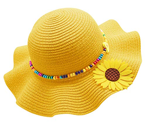 Bienvenu Kids Multi-Colors Large Brim Flower Beach Sun Hats,Yellow_2