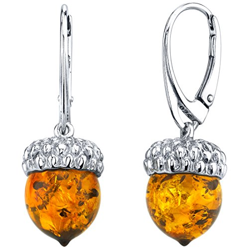 Baltic Amber Sterling Silver Acorn Drop Earrings ()