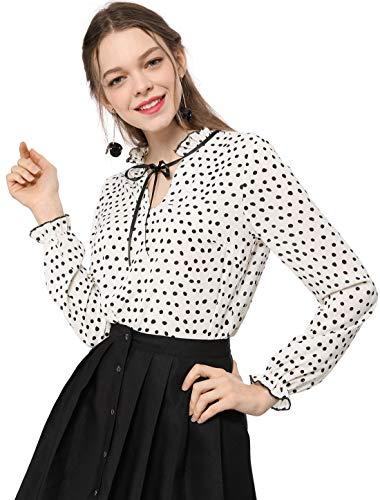 Allegra K Women's Tie Ruffled Neckline Polka Dots Vintage Blouse Bell Long Sleeves Tops M White ()