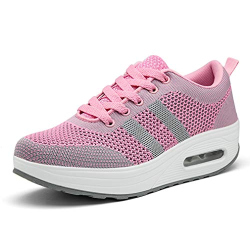 Hishoes Women Comfort Walking Shoes Casual Tennis Lightweight Sneakers Wedges Air Cushion Slip On Fitness Shoes Grey Pink