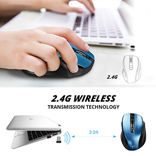 VicTsing MM057 2.4G Wireless Portable Mobile Mouse Optical Mice with USB Receiver, 5 Adjustable DPI Levels, 6 Buttons for Notebook, PC, Laptop, Computer, Macbook - Blue by VicTsing (Image #6)