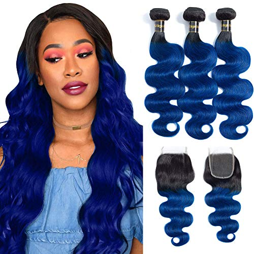 10A Grade 1b/blue Body Wave Human Hair Bundles with Closure (22