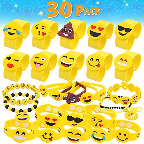 Pawliss Emoji Bracelets 30 Pack Wristband Birthday Party Favors Supplies for Kids Girls Emoticon Toys Prizes Gifts Rubber Slap Band Bracelet Silicone Writbands
