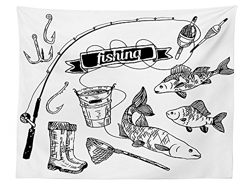 (vipsung Fishing Decor Tablecloth Hand Drawn Fishing Tools Set with Rod Salmon Perch Bucket Net Float Ribbon Dining Room Kitchen Rectangular Table Cover Black White)
