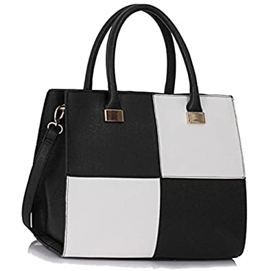 9491e2abbab7 Womens Check Print Designer Faux Leather Celebrity Style Tote Handbag   Amazon.co.uk  Shoes   Bags