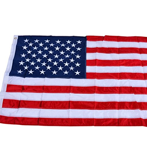 - Yeefant 3x5 Ft USA Environmentally Friendly Polyester American Flag Deluxe Embroidered Stars Sewn Stripes Grommets,59.05x35.43 Inch