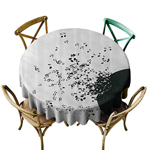 (StarsART Custom tablecloths Music Decor,Abstract Music Illustration Flying Music Notes Disc Album Dancing Nightclub,Ivory Black and Yellow D70,Tablecloths for Sale )