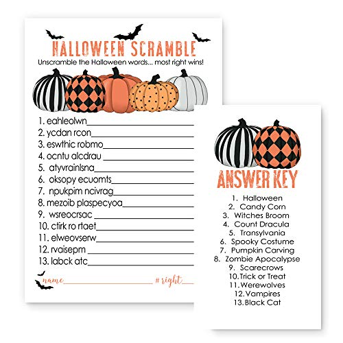 Bewitched Halloween Word Scramble Party Game Set of 25 Cards - Orange and Black