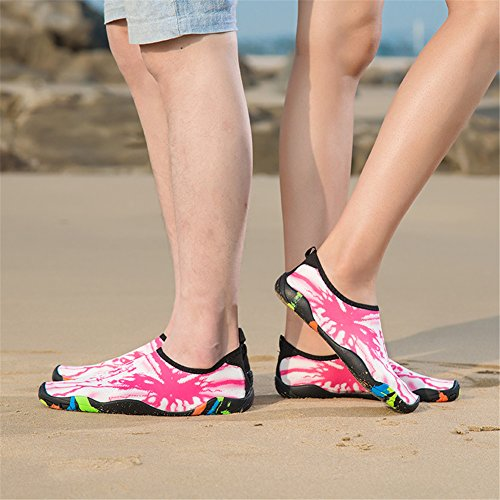 Pictures of Water Shoes for Women Men Barefoot Quick-Dry Beach Swim Shoes Aqua Socks Unisex Water Sports Shoes (42,WHPK) 4