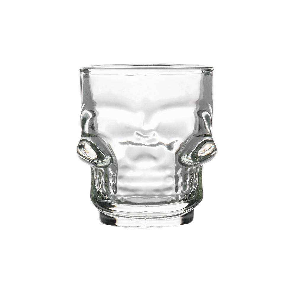 LiPing 3D Transparent Creative Skull Shot Glass Crystal Head Cup for Whiskey Home Bar Party Drinking Juice Beer Travel Cups Home Travel Picnic (50ML)