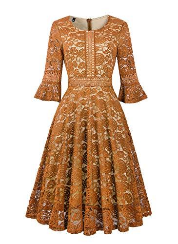 Twinklady Women's Vintage Full Lace Contrast Bell Sleeve Big Swing A-Line Dress (Mustard, XXL)