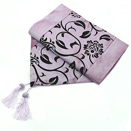 "HeroNeo® 78""X12"" Raised Flower Blossom Flocked Damask Table Runner Cloth Wedding Decor (Purple)"