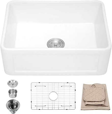 Lordear 24 Inch Farmhouse Fireclay Sink Apron-Front White Porcelain Ceramic  Deep Single Bowl Kitchen Sink