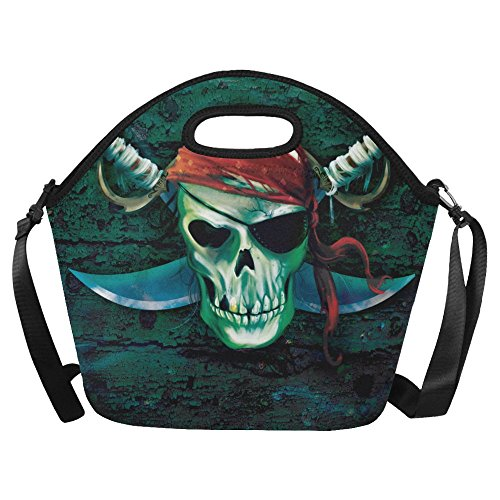 AnnHomeArt Pirate skull Neoprene Lunch Bag Lunch Tote Lunch Boxes Large -