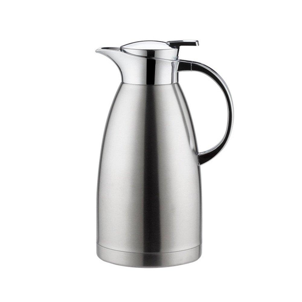 Haosen 1,8 litre Bouteille isotherme Acier inoxydable à double couche vide coffeepot thermos Cafetière isolation pot - Chaud et froid à double usage (Argent) Haosens