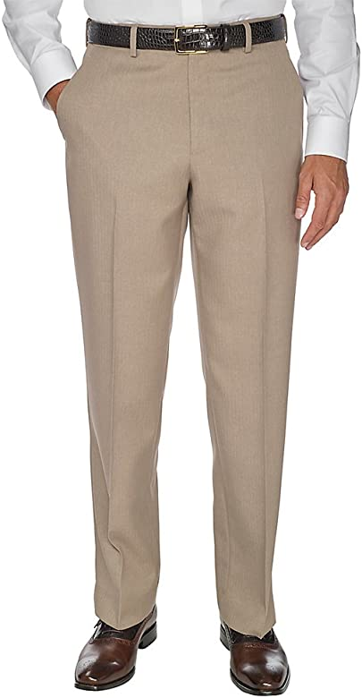 Paul Fredrick Mens Microfiber Solid Flat Front Pants