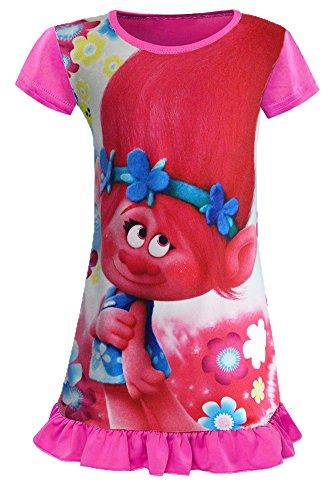 AOVCLKID Trolls Toddler Night Gown Little Girls Pajamas Dress