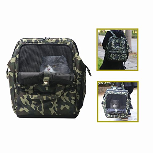 LUTAVOY Pet Backpack Camouflage Dog Carriers Backpacks Travel Camping Bag Dog Carrier Backpacks Gift to Friends (PB06) (Dog Carrier Camouflage)