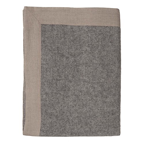 URBANARA 100% Pure Scandinavian Wool Throw FYN 55x87 Grey/Natural with Linen Border — Virgin Wool Blanket with Intervowen Colors and Striped Design — Perfect for Your Couch, Sofa, ()