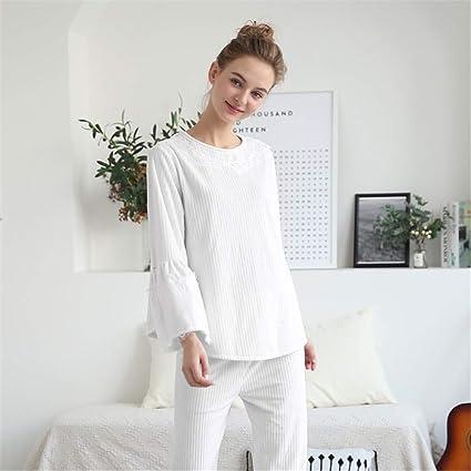 f1b793413a22 Shirleyle Elegante Conjunto de Pijamas para Mujer Winter Warm 2 Piezas de  Ropa de Dormir Camisón
