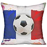 Baozheng French Soccer 18x18 Inch Throw Pillow Home Decor Pillow Standard Form Insert With Interior Inner