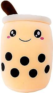 Kawaii Cartoon Bubble Tea Cup Shaped Cartoon Food Milk ,Plush Toys Cuddle Sleeping Pillow ,stuffed Animal Sofa Back Cushion ,Funny Doll Gifts for Kids Girls Birthday Gifts. (Beige A,35CM/13.77'')
