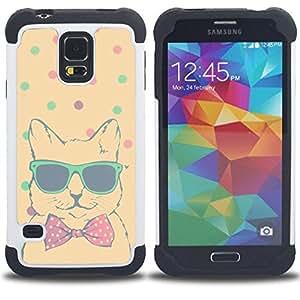 - teal polka dot cool cat bowtie shades/ H??brido 3in1 Deluxe Impreso duro Soft Alto Impacto caja de la armadura Defender - SHIMIN CAO - For Samsung Galaxy S5 I9600 G9009 G9008V