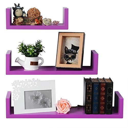 WOLTU Set of 3 Floating Nesting U Shelves Wall Mount Wood Shelves Display Storage Rack Ledge,Purple, WS01pur from WOLTU