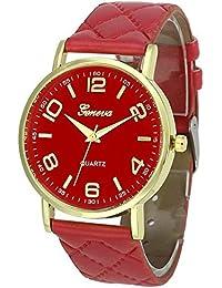 Women Geneva Faux Leather Analog Quartz Wrist Watch Women Geneva Faux Leather Analog Quartz Wrist Watch (Red)