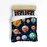 Emoji Bed Set Target YEHO Art Gallery Soft Duvet Cover Set Bed Sets for Children Kids Girls Boys,Cartoon Planet Emoji Pattern Bedding Sets Home Decor,1 Comforter Cover with 2 Pillow Cases,Twin Size