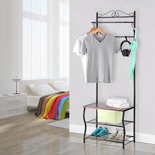 Grid Coat Rack In Office Accessories: LANGRIA Entryway Coat Rack Metal Standing Hall Tree With 2