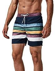 MaaMgic heren zwemshort FAST DRYING boardshort trainingsbroek met mesh voering en verstelbaar trekkoord, Marineblauwe strepen, S