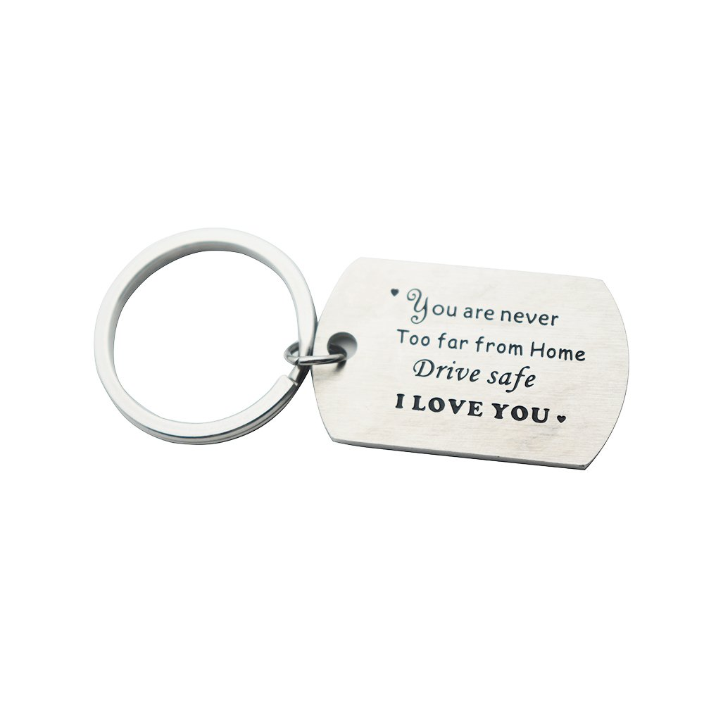 Huiuy Trucker Driver Keychain Keyring Dad Gift Drive Safe Dog Tag Keychain Personalized Men Gift (You're Never Too Far From Home)