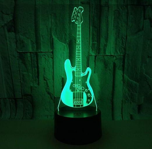 Ilusión 3D Luz de noche decorativa Guitarra eléctrica 3 ...