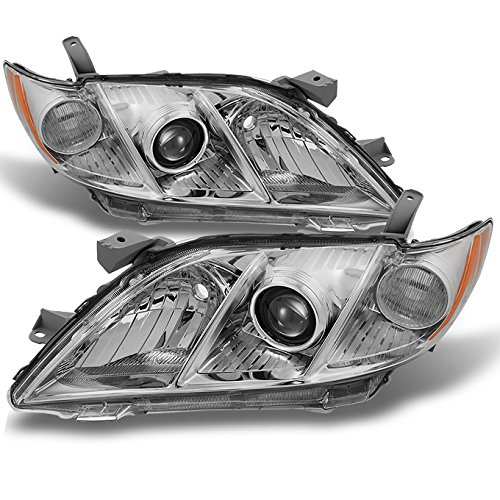 For Toyota Camry Chrome Clear Projector Headlights Front Lamps Replacement Left + Right Pair Set ()