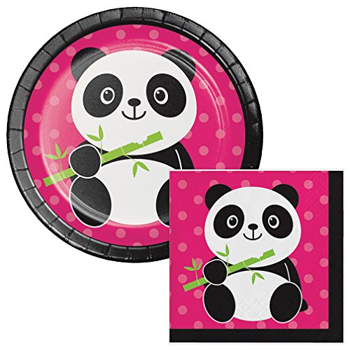 Panda-Monium Dessert Plates & Napkins Party Kit for 8
