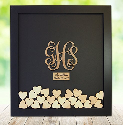 Monogram Drop Box Guest Book Frame - Wedding Guest Book Frame - Vine Monogram - Initials shaped drop heart - Shadow Box
